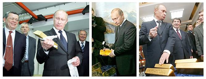 Russian President Vladimir Putin displays his fondness for gold